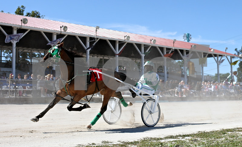 Rob Winner  -  rwinner@daily-chronicle.com<br /> <br /> Driver Jamaica Patton steers SH's Snapshot past the grandstand during the first harness race on Wednesday September 9, 2010 at the Sandwich Fair in Sandwich, Ill.