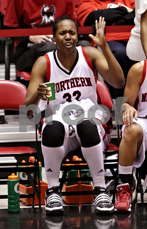 Beck Diefenbach  -  bdiefenbach@daily-chronicle.com<br /> <br /> Northern Illinois' Mauvolyene Adams (32) reacts after she is called for a foul during the second half of the game against Central Michigan at the NIU Convocation Center in DeKalb, Ill., on Wednesday Jan. 20, 2010