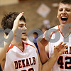 Beck Diefenbach  -  bdiefenbach@daily-chronicle.com<br /> <br /> DeKalb's Jake Jouris (32, left) and Jordan Threloff (42) rejoice after Jouris made a three-point shot to win the game against Geneva at DeKalb High School, in DeKalb, Ill., on Friday Jan. 5, 2010. DeKalb defeated Geneva 55 to 52.