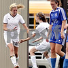 Beck Diefenbach  -  bdiefenbach@daily-chronicle.com<br /> <br /> Sycamore's Rachel Stueber (22, left) is congratulated by Lauren Miller (17) following Stueber's goal during the first half of the IHSA Class 2A Hampshire Sectional Semi-final game against Rosary at Hampshire High School in Hampshire, Ill., on Tuesday May 25, 2010. Sycamore defeated Rosary 3 to 1.