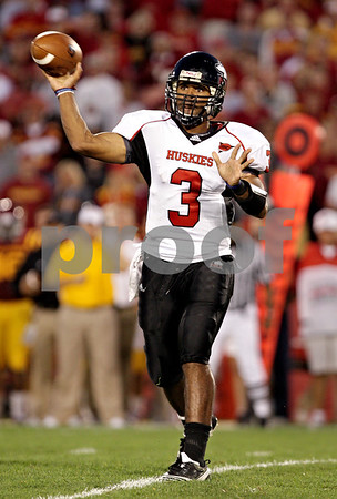 Beck Diefenbach  -  bdiefenbach@daily-chronicle.com<br /> <br /> Northern Illinois quarterback DeMarcus Grady (3) passes the ball during the second quarter of the game at Jack Trice Stadium on the campus of Iowa State University in Ames, Iowa, on Thursday Sept. 2, 2010. Iowa State defeated Northern Illinois 27 to 10.