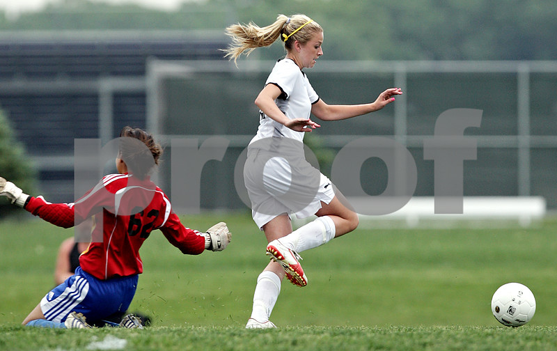 Beck Diefenbach  -  bdiefenbach@daily-chronicle.com<br /> <br /> Sycamore's Rachel Stueber (22, center) passes Rosary goal keeper Rachel Rivera (left) during the second half of the IHSA Class 2A Hampshire Sectional Semi-final game at Hampshire High School in Hampshire, Ill., on Tuesday May 25, 2010. Sycamore defeated Rosary 3 to 1.