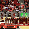 Beck Diefenbach  -  bdiefenbach@daily-chronicle.com<br /> <br /> The Jesse White Tumblers perform during half time of the Northern Illinois vs Ohio basketball game at NIU's Convocation Center in DeKalb, Ill., on Wednesday Jan. 27, 2010.