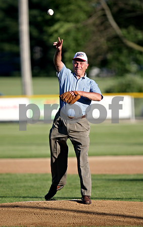 Beck Diefenbach  -  bdiefenbach@daily-chronicle.com<br /> <br /> State Representative Bob Pritchard throws the first pitch at the DeKalb County Liners home opening game at Founder Field at Sycamore Park in Sycamore, Ill., on Wednesday June 16, 2010.