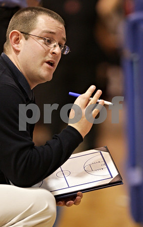 Beck Diefenbach  -  bdiefenbach@daily-chronicle.com<br /> <br /> Hinckley-Big Rock head coach Greg Burks during the second half of the Little 10 Tournament semi-final game at H-BR in Hinckley, Ill., on Thursday Jan. 21, 2010. H-BR defeated Indian Creek 69 to 34.
