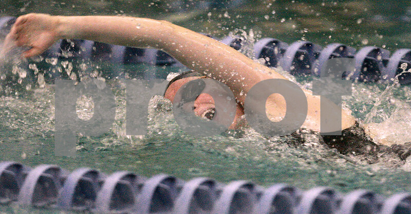 Kyle Bursaw – kbursaw@daily-chronicle.com<br /> <br /> DeKalb's Grace Waller splashes her way to first place in the 200 freestyle with a time of 1:55.37 at  St. Charles North High School on Nov. 13, 2010.