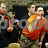 Rob Winner – rwinner@daily-chronicle.com<br /> <br /> DeKalb coach Mike Pater cheers on  Doug Johnson (not pictured) after winning his 125-pound quarterfinal match at the Don Flavin Tournament at DeKalb on Wednesday, Dec. 29, 2010.