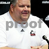 Rob Winner – rwinner@daily-chronicle.com<br /> <br /> Football offensive coordinator Matt Limegrover, of Northern Illinois University, speaks during a press conference on Tuesday September 14, 2010 in DeKalb, Ill.