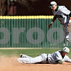 Beck Diefenbach  -  bdiefenbach@daily-chronicle.com<br /> <br /> Ohio's Wesley O'Neill  (1, top) and Zach Keen (5, bottom) watch as Northern Illinois' Alex Jones (1, left) slides safe into second base during the fifth inning of the game at NIU in DeKalb, Ill., on Friday April 16, 2010.