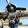 Rob Winner – rwinner@daily-chronicle.com<br /> <br /> Plainfield resident Andy Lamontagna looks at one of the propellers of Sentimental Journey, a B-17 Flying Fortress, which arrived at the DeKalb Taylor Municipal Airport on Monday August 16, 2010.