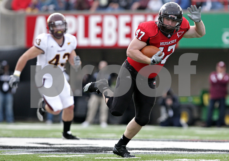 Rob Winner – rwinner@daily-chronicle.com<br /> <br /> Northern Illinois fullback Connor Flahive picks up extra yards after a reception during the first quarter in DeKalb, Ill. on Saturday October 23, 2010. DeKalb went on to defeat Central Michigan, 33-7.