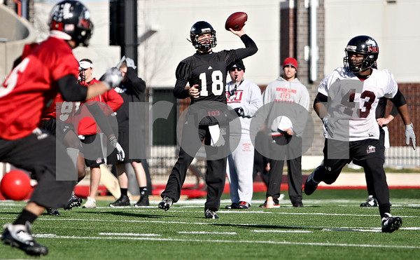 Rob Winner – rwinner@daily-chronicle.com<br /> <br /> Tommy Coughlin looks back to pass during NIU football practice on Tuesday March 23, 2010 in DeKalb, Ill.