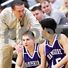 Beck Diefenbach - bdiefenbach@daily-chronicle.com<br /> <br /> Hampshire head coach Bob Barnett talks with Sarwan Khan (45, far right) before he entered the game during the second quarter of the IHSA Class 3A semifinal regional game against Kaneland at Kaneland High School in Maple Park, Ill., on Wednesday March 3, 2010.