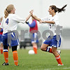 Beck Diefenbach  -  bdiefenbach@daily-chronicle.com<br /> <br /> Genoa-Kingston's Vanessa Quandt (4, left) congratulates Rachael Harris (7, right) following her goal during the second half of the game at G-K High School in Genoa, Ill., on Tuesday May 11, 2010. G-K defeated Galena/River Ridge 8 to 1.