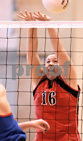 Kyle Bursaw - kbursaw@daily-chronicle.com<br /> <br /> Indian Creek's Anna Ostrander (16) tries for a block against the Hinckley-Big Rock Royals in the IHSA Girls Volleyball Regional on Saturday Oct. 30, 2010 at Hinckley-Big Rock High School.