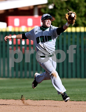 Beck Diefenbach  -  bdiefenbach@daily-chronicle.com<br /> <br /> Ohio's Wesley O'Neill (1) catches a ground ball of the hop during the eighth inning of the game against Northern Illinois at NIU in DeKalb, Ill., on Friday April 16, 2010.