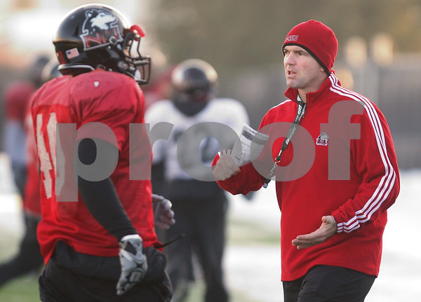 Kyle Bursaw – kbursaw@daily-chronicle.com<br /> <br /> Interim head coach Tom Matukewicz at practice on Friday, Dec. 10, 2010.