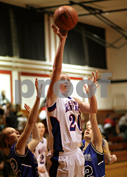 Beck Diefenbach – bdiefenbach@daily-chronicle.com<br /> <br /> Hinckley-Big Rock's Jenna Thorp shoots the ball during the second quarter of the IHSA Class 1A Regional playoff game against Westminster at Indian Creek High School in Shabbona, Ill., on Wednesday Feb. 10, 2010.