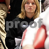 Beck Diefenbach  -  bdiefenbach@daily-chronicle.com<br /> <br /> Hinckley-Big Rock High School senior and Northern Illinois basketball recruit Jenna Thorp listens as new Northern Illinois women's head coach Kathi Bennett talks to members of the public and media following her introduction at the NIU Convocation Center in DeKalb, Ill., on Tuesday May 18, 2010.