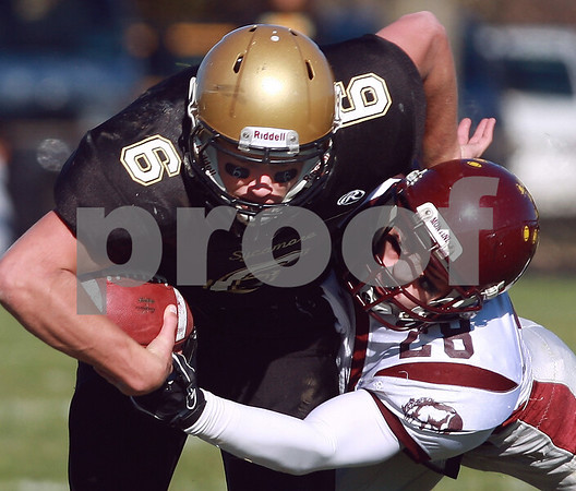 Kyle Bursaw - kbursaw@daily-chronicle.com<br /> <br /> Montini's Frank Baer gets a hand on the ball, causing Sycamore Quarterback Ryan Bartels to fumble in the second quarter in Sycamore, Ill. on Nov. 6., 2010. The Montini Broncos defeated the Sycamore Spartans 28-7.