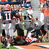 Rob Winner – rwinner@daily-chronicle.com<br /> <br /> Illinois quarterback Nathan Scheelhaase finds his way into the end zone in the first half of their game against Northern Illinois in Champaign, Ill.  on Saturday September 18, 2010.