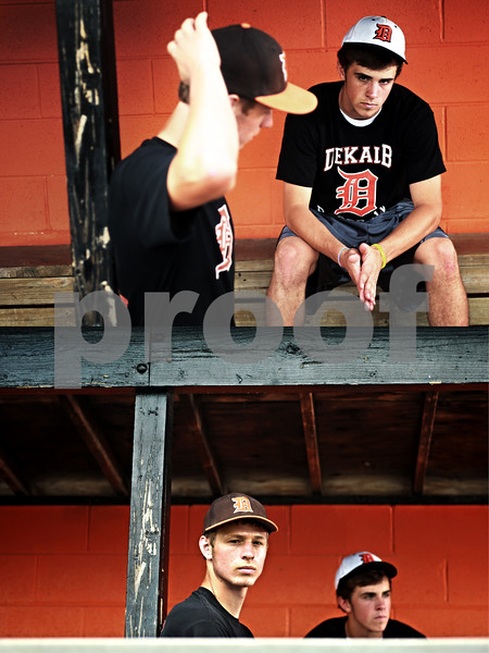 Beck Diefenbach  -  bdiefenbach@daily-chronicle.com<br /> <br /> Following a collision during the state semi-final game, DeKalb High School baseball players Brian Sisler, right, and  Jake Gordon are past recovery and are back on the field.