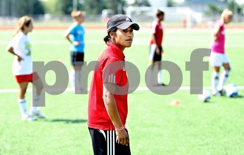 Rob Winner – rwinner@daily-chronicle.com<br /> <br /> Northern Illinois University women's soccer coach Carrie Barker works with a group of college prospects during a soccer camp on Tuesday July 13, 2010 in DeKalb, Ill.