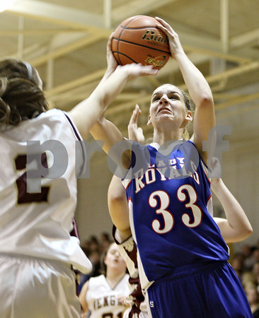 Rob Winner – rwinner@daily-chronicle.com<br /> <br /> Hinckley-Big Rock's Tess Godhardt takes a shot during the second quarter of the IHSA Class 1A H-BR Sectional final in Hinckley, Ill., on Thursday February 17, 2011. Hinckley-Big Rock went on to defeat St. Benedict, 63-25.