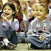 Rob Winner – rwinner@daily-chronicle.com<br /> <br /> Tyler Elementary School students, including Kaylee Green (left) and Jackson Singleton, both 4, watch a performance by FoodPlay Productions in DeKalb on Tuesday, March 29, 2011.  FoodPlay Productions is an Emmy Award-winning nutrition media company which tours the nation's schools and special events using the power of live theater and interactive resources to turn kids on to healthy eating and exercise habits.