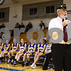 Kyle Bursaw – kbursaw@shawmedia.com<br /> <br /> Air Force veteran Paul Noll speaks before presenting plaques honoring fellow veterans Michael P. Finley and Emil Viitanen who died in the line of duty. The presentation was held before the Hinckley-Big Rock varsity girls basketball game against Somonauk on Monday, Dec. 5, 2011.