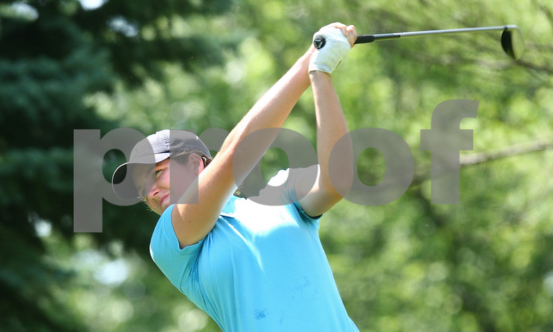Kyle Bursaw – kbursaw@daily-chronicle.com<br /> <br /> Nora Lucas watches her drive at Kishwaukee Country Club on Friday, June 17, 2011. Brittany Atterbury defeated Nora Lucas to win the final match of the 2011 Illinois State Women's Amateur Championship.