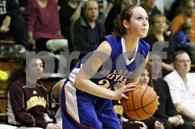 Rob Winner – rwinner@daily-chronicle.com<br /> <br /> Hinckley-Big Rock's Alyssa Baunach sets herself before a three-pointer during the second quarter of the IHSA Class 1A H-BR Sectional final in Hinckley, Ill., on Thursday February 17, 2011. Hinckley-Big Rock went on to defeat St. Benedict, 63-25.