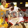 Rob Winner – rwinner@shawmedia.com<br /> <br /> Valparaiso's Ryan Broekhoff (45) pressures Northern Illinois' Antone Christian (3) during the first half on Tuesday, Dec. 20, 2011, in DeKalb, Ill.