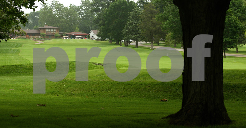 Kyle Bursaw – kbursaw@daily-chronicle.com<br /> <br /> The first hole at Sycamore Golf Club starts right by the clubhouse (background) and ends with an elevated green.