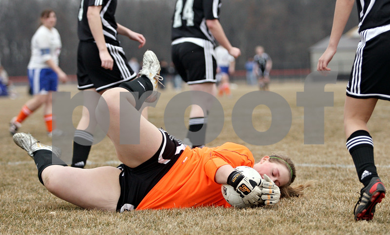 Rob Winner – rwinner@daily-chronicle.com<br /> <br /> Indian Creek goalkeeper Carole Fleetwood makes a save during the second half. Genoa-Kingston went on to defeat Indian Creek, 5-1.