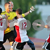 Rob Winner – rwinner@shawmedia.com<br /> <br /> Goalkeeper Aaron Bolton celebrates with his Indian Creek teammates and fans after scoring the Timberwolves' final goal in a shootout on Monday, Sept. 19, 2011, in Waterman, Ill. Indian Creek defeated Hinckley-Big Rock, 2-1.