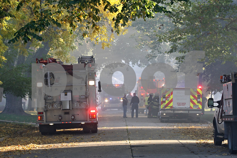 Rob Winner – rwinner@shawmedia.com<br /> <br /> South Genoa Street was closed for a house fire where about a dozen departments assisted in extinguishing the blaze in Genoa on Wednesday afternoon.