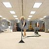 Rob Winner – rwinner@daily-chronicle.com<br /> <br /> Huntley Middle School head custodian Sue Kraemer cleans the floors within the library on Friday afternoon in DeKalb.