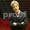 Rob Winner – rwinner@daily-chronicle.com<br /> <br /> Northern Illinois coach Kathi Bennett looks up at the scoreboard during the first half in DeKalb, Ill. on Monday, Jan. 3, 2011.