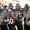 Rob Winner – rwinner@shawmedia.com<br /> <br /> Northern Illinois running back Akeem Daniels celebrates a 2-yard touchdown run during the third quarter in DeKalb, Ill., on Saturday, Oct. 15, 2011. Northern Illinois defeated Western Michigan, 51-22.