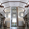 Kyle Bursaw – kbursaw@daily-chronicle.com<br /> <br /> The clock inside the main lobby of DeKalb's new high school can be seen from West Dresser Road.<br /> <br /> Friday, July 29, 2011.
