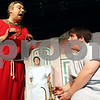 "Rob Winner – rwinner@daily-chronicle.com<br /> <br /> Cast members Lawrence Nepodahl (from left to right), Aaron Moorman and Ryan Morton rehearse a scene from ""A Funny Thing Happened on the Way to the Forum"" on Wednesday, March 16, 2011 at Stage Coach Players in DeKalb, Ill."