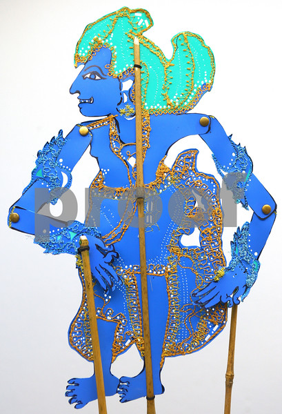 """""""Balinese style Rama"""" (2010) by Siew Lian Lim and made of repurposed plastic file divider, bamboo and thread.<br /> Part of the 'Echoing Balance' display of shadow puppets at the DeKalb Area Women's Center.<br /> <br /> Rama is from the Hindu epic, The Ramayana, which means """"the travels of Rama."""" This epic is about Rama's journey to rescue his wife, sita, from the orge, Ravana."""