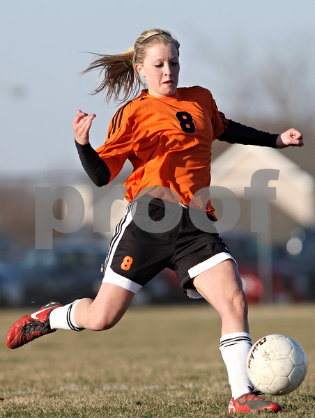 Rob Winner – rwinner@daily-chronicle.com<br /> <br /> DeKalb's Carlie Hayes controls a ball during the second half in DeKalb, Ill., on Monday, March 28, 2011. Boylan defeated DeKalb, 3-0.