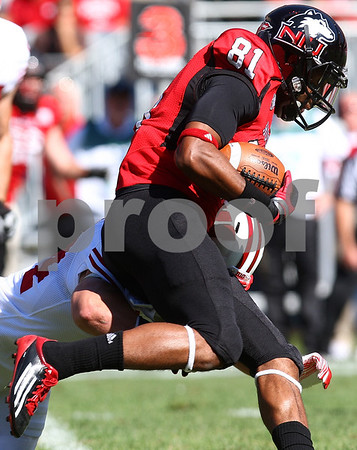 Kyle Bursaw – kbursaw@shawmedia.com<br /> <br /> Northern Illinois wide receiver Nathan Palmer (81) during the game against Wisconsin at Soldier Field in Chicago, Ill. on  Saturday, September 17, 2011.