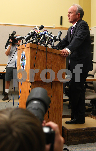 Kyle Bursaw – kbursaw@daily-chronicle.com<br /> <br /> DeKalb County State's Attorney Clay Campbell speaks at a press conference about the case against Jack Daniel McCullough in Sycamore, Ill. on Tuesday, July 12, 2011.