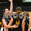 Kyle Bursaw – kbursaw@shawmedia.com<br /> <br /> Christina Dailey (left) looks to the official after realizing a point was awarded to Crystal Lake Central during the 3A Sycamore Regional Final match at Sycamore High School on Thursday, Oct. 27, 2011.