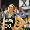 Rob Winner – rwinner@daily-chronicle.com<br /> <br /> Sycamore's Jessica Pluhm reacts after a foul was called on her during the second quarter in Sycamore, Ill.,  on Wednesday, Feb. 16, 2011. Hampshire would go on to defeat Sycamore, 57-41, during the IHSA Class 3A Sycamore Regional.
