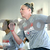 Rob Winner – rwinner@daily-chronicle.com<br /> <br /> Jenna Thorp (front) and her Northern Illinois basketball teammates run through a conditioning routine within the Yordon Center in DeKalb on Wednesday, July 13, 2011.