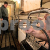 Kyle Bursaw – kbursaw@daily-chronicle.com<br /> <br /> Ed Arndt Jr. checks up on some of the baby pigs nursing off of mother pigs at E&E Arndt farms in Malta, Ill. on Thursday, Jan. 20, 2011.